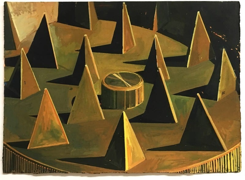 Anthony Palocci, Abstract Landscape with Pyramids and Magnet, 2017, gouache on paper, 15 x 11 inches, courtesy of the artist