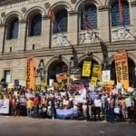 Climate protest outside June 8 US Conference of Mayors meeting in Boston. Photo courtesy Mass Sierra Club.