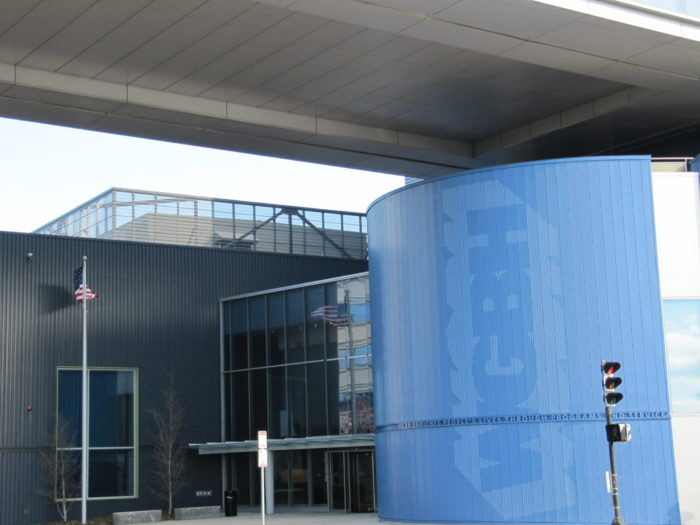 WGBH studio complex, 1 Guest Street, Brighton/Boston. Entrance, seen from Market Street. Image from Wikimedia Commons, photographer unknown.
